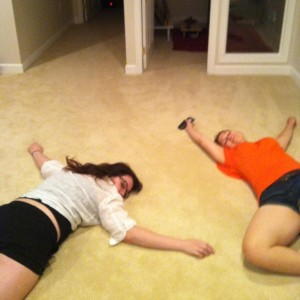 Friend visits mean hanging out on the floor