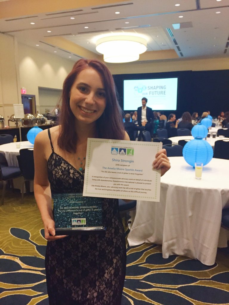 Shira received the Amelia Moore Sparkle Award at #DysConf recognizing her advocacy for fellow dysautonomia patients