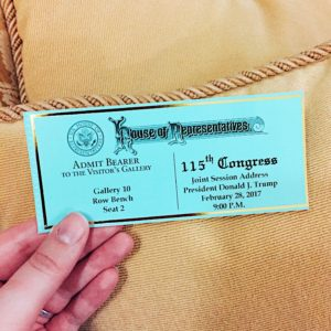 ticket to the Joint Session of Congress