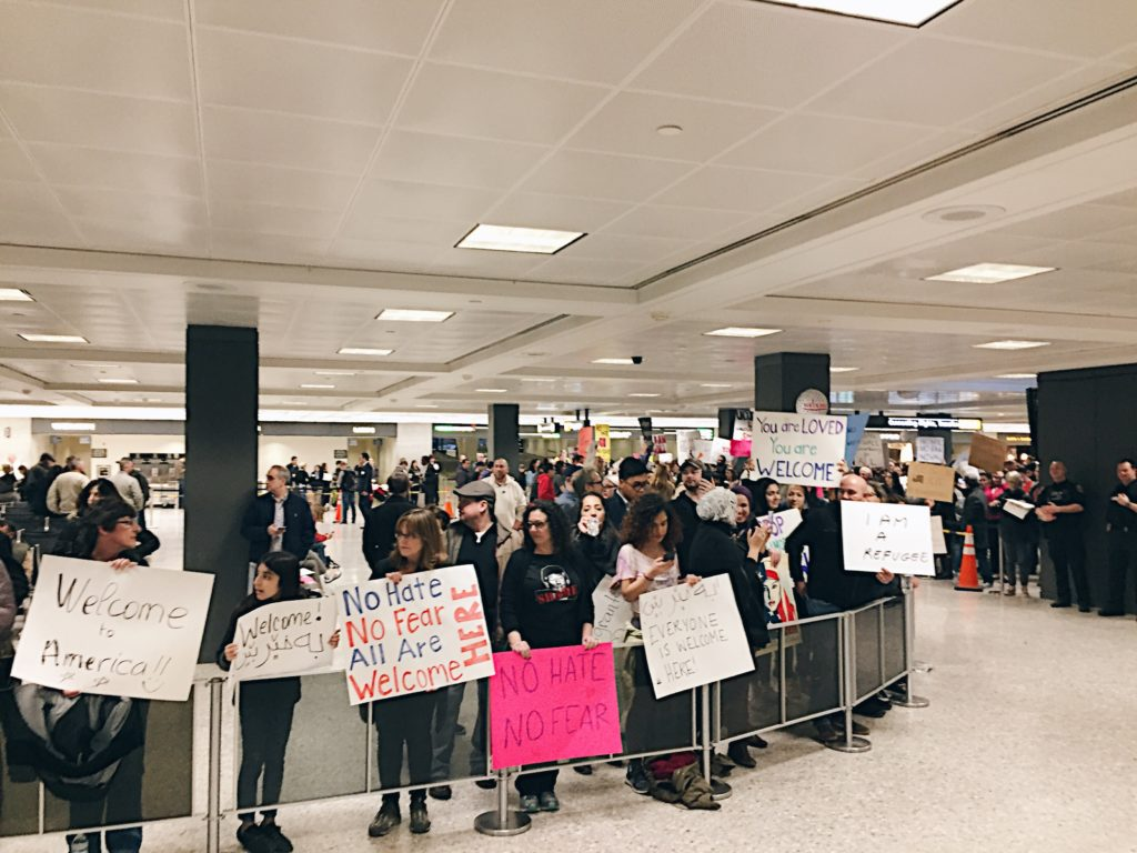 Travel ban protest at Dulles International Airport